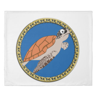 Orange sea turtle swimming with a gold frame duvet cover