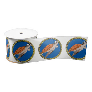 Orange sea turtle swimming with a gold frame satin ribbon