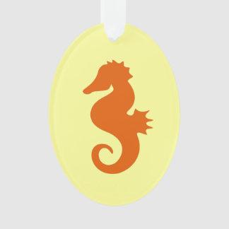 Orange Seahorse Ornament
