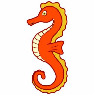 Orange Seahorse Photo Sculpture Button