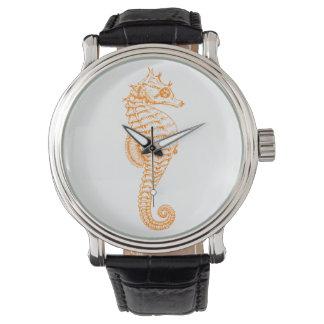 Orange Seahorse Watch Vintage Leather Strap Black