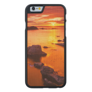 Orange seascape, sunset, California Carved® Maple iPhone 6 Case