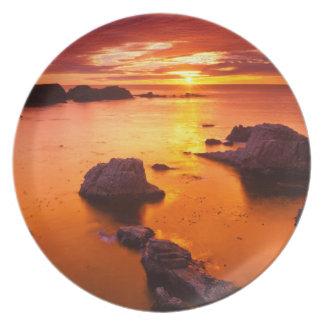 Orange seascape, sunset, California Dinner Plates