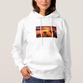 Orange seascape, sunset, California Hoodie