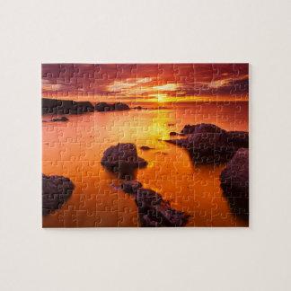 Orange seascape, sunset, California Jigsaw Puzzle