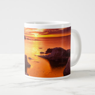 Orange seascape, sunset, California Large Coffee Mug