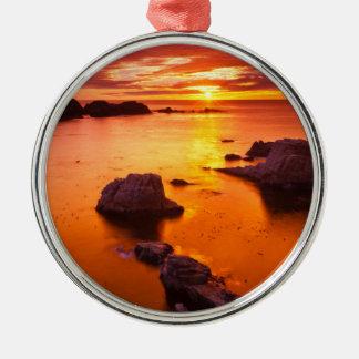 Orange seascape, sunset, California Silver-Colored Round Ornament
