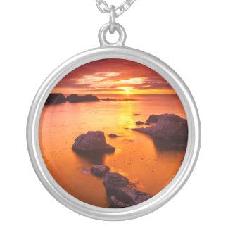 Orange seascape, sunset, California Silver Plated Necklace