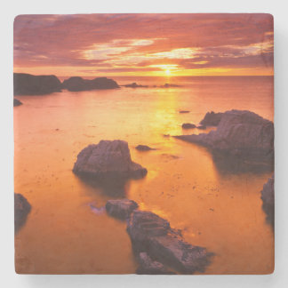 Orange seascape, sunset, California Stone Coaster