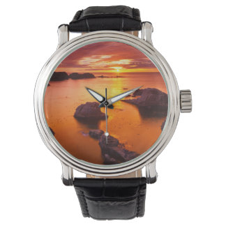 Orange seascape, sunset, California Wristwatch