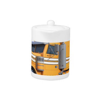 Orange Semi Tractor Trailer
