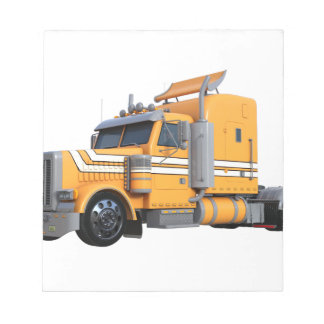 Orange Semi Tractor Trailer Notepad