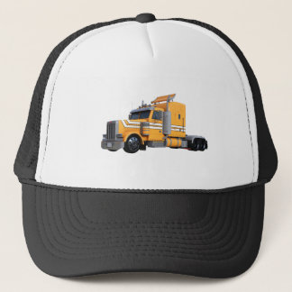Orange Semi Tractor Trailer Trucker Hat
