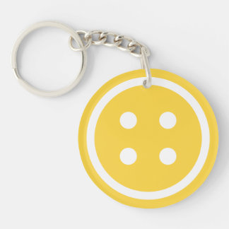 Orange Sewing Button Keychain