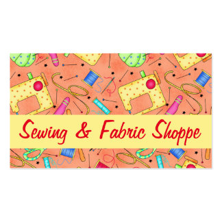 Orange Sewing Notions Art Fabric Store Business Card