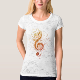 Orange Shaded Treble Clef Fitted Burnout T-Shirt