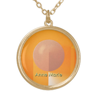 Orange Shadows with Customizable Text Gold Plated Necklace