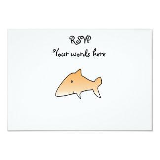 Orange shark 3.5x5 paper invitation card
