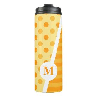 Orange Sherbet Polka Dots and Stripes: Monogram Thermal Tumbler
