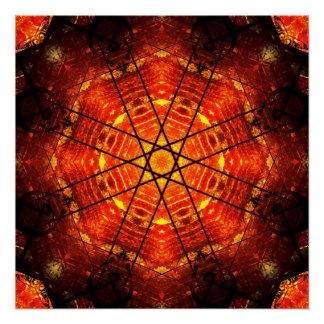 Orange Shuriken Mandala Poster