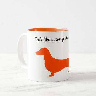 Orange Silhouette Dachshund Mug