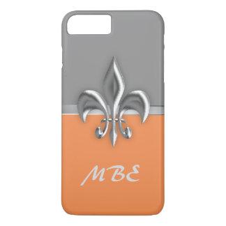 Orange Silver Fleur de Lis iPhone 7 Plus Case