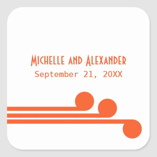 Orange Simple Deco Chic Wedding Stickers