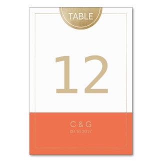 Orange simple modern wedding table number table card