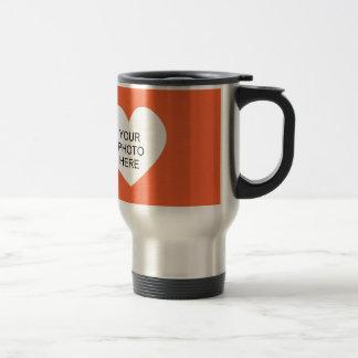 Orange Single Heart Add Photo Frame 15 Oz Stainless Steel Travel Mug
