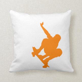 Orange Skater; Skateboard Throw Pillow