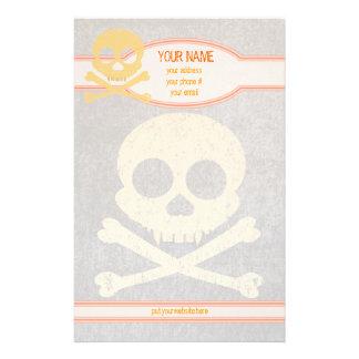 Orange Skull Distressed Personalized Stationery