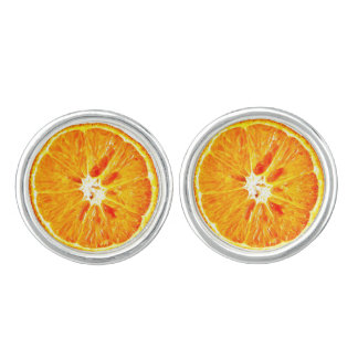 Orange Slice Cufflinks Silver Plated