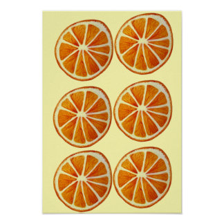 Orange slice macro fruit pop art poster