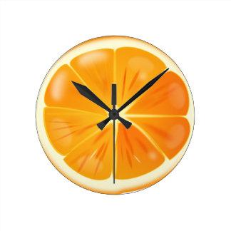 Orange Slice Round Clock