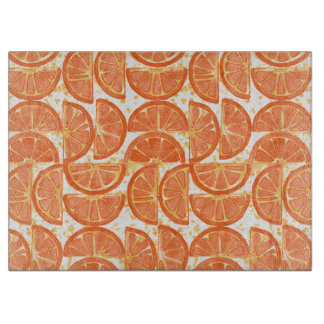 Orange Slices Glass Cutting Board