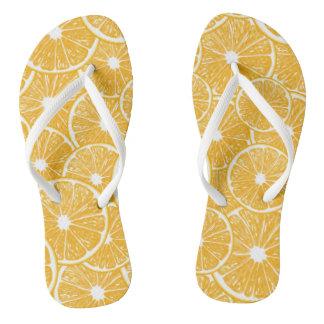 Orange slices pattern design flip flops