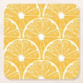Orange slices, tropical fruit pattern design square paper coaster