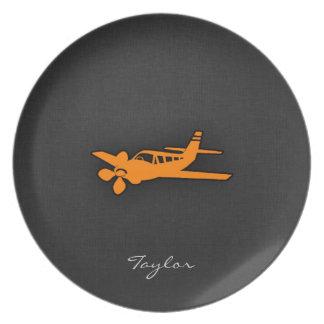Orange Small Airplane Party Plates