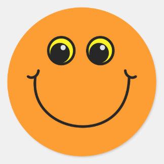 Orange Smiley Face Classic Round Sticker