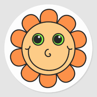Orange Smiley Face Flower Classic Round Sticker