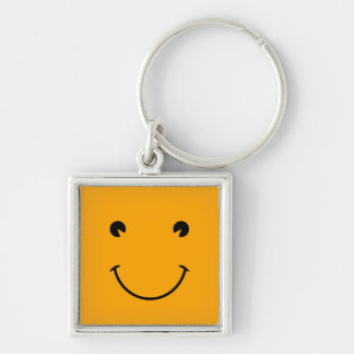 Orange Smiley Face Keychain
