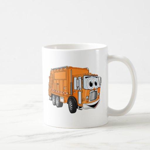 Orange Smiling Garbage Truck Cartoon Mug