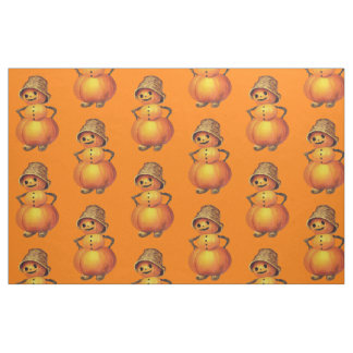 Orange Smiling Jack O' Lantern Snowman Fabric