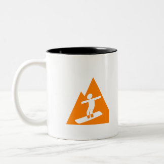 Orange Snowboarder Two-Tone Coffee Mug