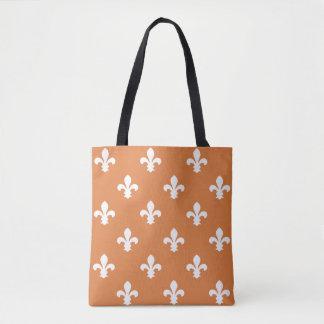 Orange Southern Cottage Fleur de Lys Tote Bag