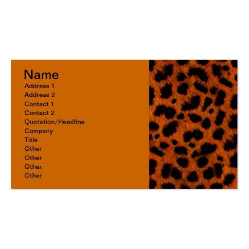 ORANGE SPECKLED BLACK ANIMAL PRINT PATTERN DIGITAL BUSINESS CARD TEMPLATE