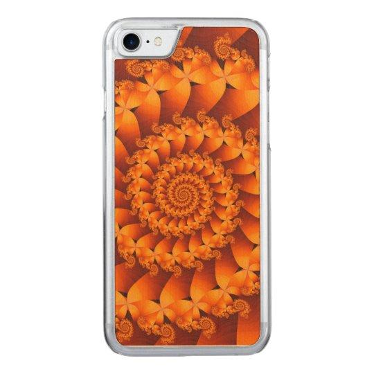 Orange Spiral Fractal iPhone 6 Slim Wood Carved iPhone 8/7 Case