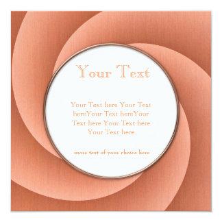 "Orange Spiral in brushed metal texture 5.25"" Square Invitation Card"