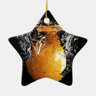 Orange Splash Ceramic Star Ornament
