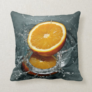 Orange Splash custom throw pillow